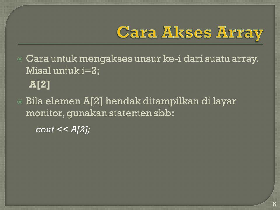Cara Akses Array Cara untuk mengakses unsur ke-i dari suatu array. Misal untuk i=2; A[2]